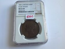 1856 Great Britain Penny Plain Trident NGC MS 62 Brown KEY DATE