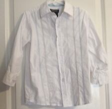 Toddler Boy Kenneth Cole Dress Shirt Size 4T White Brown Blue