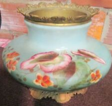Antique Hand Painted Kerosene Lamp Base GREEN FLORAL