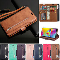 Zipper 9 Card Wallet Leather Flip Cover Case For Huawei P30 Lite Y7 2019 Y6 2019