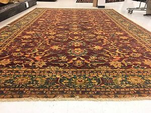Excellent Bijare Area Rugs Hand Knotted Hand Spun Ghazni Wool Carpet (12 x 18)'