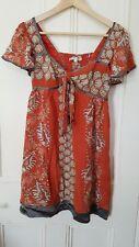 NANETTE LEPORE silk dress Size 4/EU 38/UK 10 terracotta shell pattern