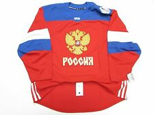 RUSSIA AUTHENTIC RED 2016 WORLD CUP OF HOCKEY TEAM ISSUED ADIDAS JERSEY SIZE 58+