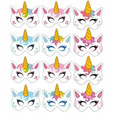 12 Card Unicorn Face Masks - Colourful Fun Children's Masks Party Bag Fillers