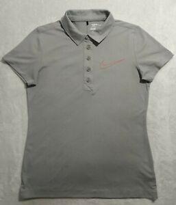 Nike Golf Sport Dri Fit Women's Medium Gray Short Sleeve Polo Shirt EUC.