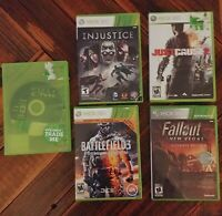 Xbox 360 Game Bundle Halo Reach Battlefield 3 Injustice Just Cause 2 Fallout New