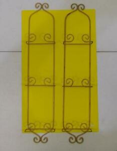 LOT OF 2 BRASS COLORED METAL DECORATIVE 3 PLATE PICTURE WALL MOUNT DISPLAY RACKS
