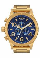 New Authentic Nixon 51-30 Chrono Gold Blue Sunray A0832735 Watch A083-2735