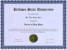 Doctor Bag Pipes Novelty Diploma Gag Gift Chanter
