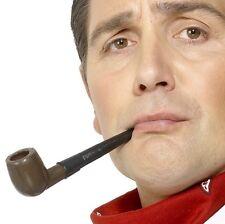 Uomo Anni '20 1920s Costume Plastica che Fuma la Pipa Sherlock da Smiffys Nuovo