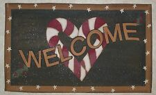 """Christmas Holiday CANDY CANE WELCOME Canvas Floor Mat 30"""" x 18"""""""