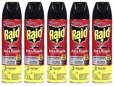 5 Raid Ant & Roach LEMON SCENT Kills On Contact! Aerosol Spray 17.5 oz