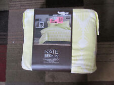 Nate Berkus Brotch 3 Piece King Duvet Cover Set ~ Lime Drop / Yellow Brand New
