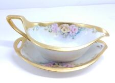PM Bavaria Moschendorf Germany Gold Guild Flowerial Rose Gravy boat & under tray