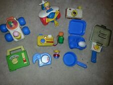 VINTAGE Lot of 9 FISHER PRICE PLANE Car TOY Camera Elephant radio INFANT TODDLER