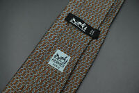 Vintage Hermes Paris Made In France Brown Geometric Pattern Silk Tie 718 FA