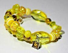 SUN YELLOW & GOLD beads ~ Handmade Beaded Wrap Bracelet ~ Perfect Gift!