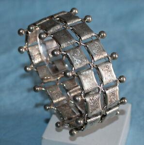 Vintage Hand EngravedBeaded Sterling Silver Stamped Danecraft Bracelet Non Pierced Earrings /& Necklace Set.