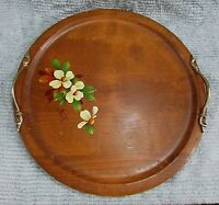 """Dallcraft Canada Hand Painted Floral Toleware 16"""" Wood Serving Tray FREE S/H"""