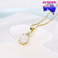 Classic Wholesale 18K Gold Filled Clear Crystal Oval Opal Necklace Pendant