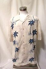 Quick Silver Men's Hawaiian Shirt BIG XLTG Short Sleeve Palm Trees Cream