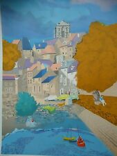 """ORIGINAL Georges Lambert """" FRENCH VILLAGE """"- LITHOGRAPH - FREE SHIP IN USA"""