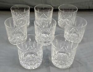 8 WATERFORD LISMORE CRYSTAL ROCK GLASSES OLD FASHIONED TUMBLERS