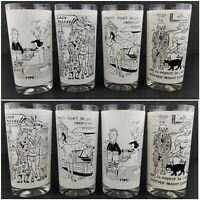 Starlyte Comic Glasses Tumblers Risque Adults Only Scenes Set of 8 Vintage