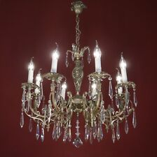 8 LIGHT ITALY LEAD CRYSTAL CHANDELIER SILVER VINTAGE LAMP NICKEL OLD FRENCH