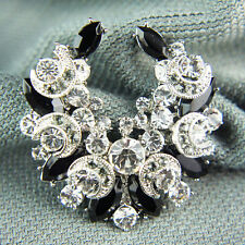14k white Gold GF with Swarovski crystals black brooch pin