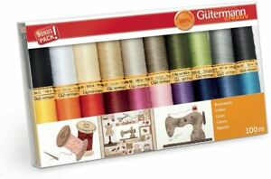 Gutermann Thread Set: Natural Cotton  20 x 100m: Colour Assorted
