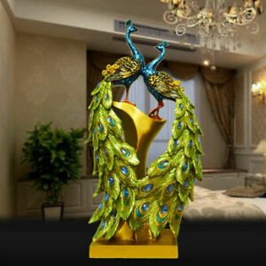 Resin Peacock Ornament Figurine Statue Sculpture Home Hotel Office Art Decor