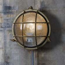 Garden Trading Devonport Round Coastal Exterior IP44 Brass Bulk Head Light