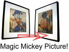 RARE Mickey Mouse Donald duck DISNEY framed MAGIC glass picture collectors wall
