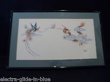 CHINESE SILK EMBROIDERY PANEL OF A DRAGON & BIRD OF PARADISE  MOUNTED AND FRAMED