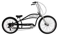 """Micargi SEATTLE SS-BK 7 Speed 26"""" Stretch Bike Bicycle, Hi Rise Handlebar, Black"""