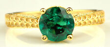 Solid 14KT Yellow Gold Round Shape 1.20Ct Natural Zambian Emerald Solitaire Ring