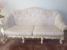 couchgarnitur Barockstil,weiße & rosa Musterung,Holzbeine mit Muster+Kissen