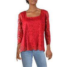 Nanette Nanette Lepore Womens Red Lace Square Neck Shirt Top Blouse M BHFO 7185