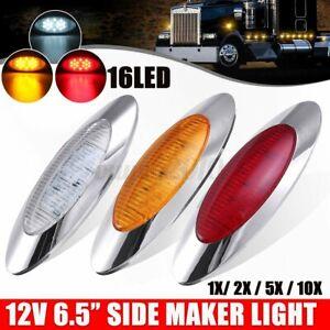 "1Pcs 12V 6.5"" Oval 16LED Cab Side Marker Light Chrome Bezel Truck Trailer"