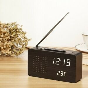[CN] Electronic Clock with Radio Alarm Clock in Wood with White Light (Black)