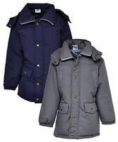 New Girls Kids Padded Parka Jacket School Coat Navy Grey Age 6 7 8 9 10 11 12