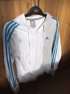 Adidas White Zip Up Hoody
