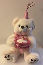 "Birthday Bear Sings ""Happy Birthday"" 10"" Plush - white"