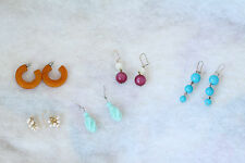 FIVE PAIR EARRING FOR SPRING: AMBER, PURPLE WHITE, TURQUOISE,