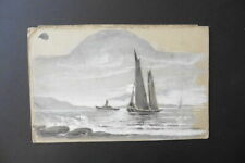 FRENCH SCHOOL 19thC - ANIMATED COASTAL LANDSCAPE BY RICOU - INK-WATERCOLOR