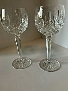 PAIR WATERFORD CRYSTAL LISMORE TALL HOCK GLASSES