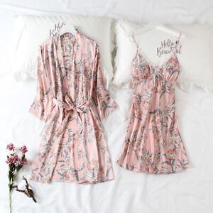 Women Silk Satin Nightdress 2PCS Lace Print Robe Dress Sleepwear Kimono Gown Set