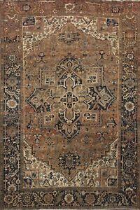 Antique Geometric Heriz Handmade Traditional Area Rug Wool Oriental Carpet 9x12