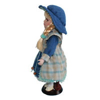 30cm Victorian Porcelain Doll with Blue Denim Dress Set Home Display Decor